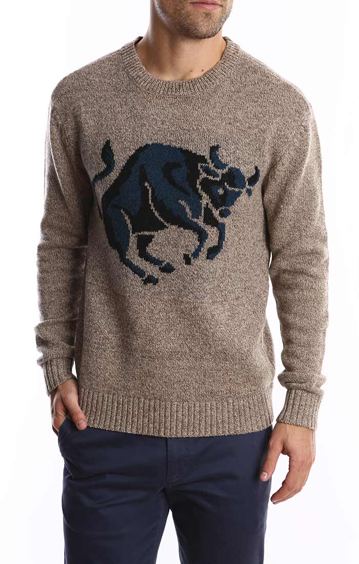 Bull Intarsia Merino Wool Sweater