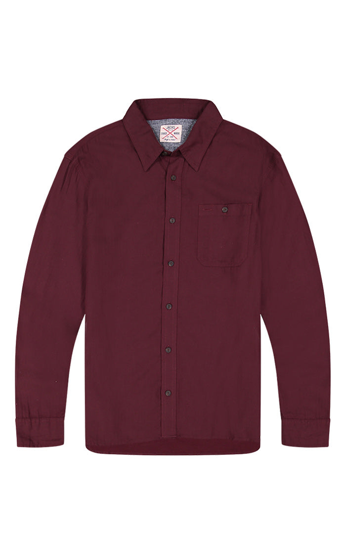 Burgundy Lightweight Herringbone Shirt - JACHS NY