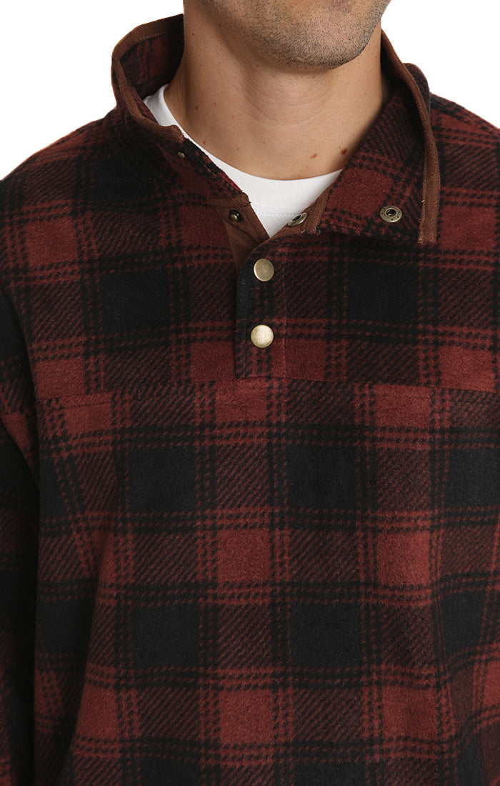 Red Plaid Fleece Mock Neck Pullover
