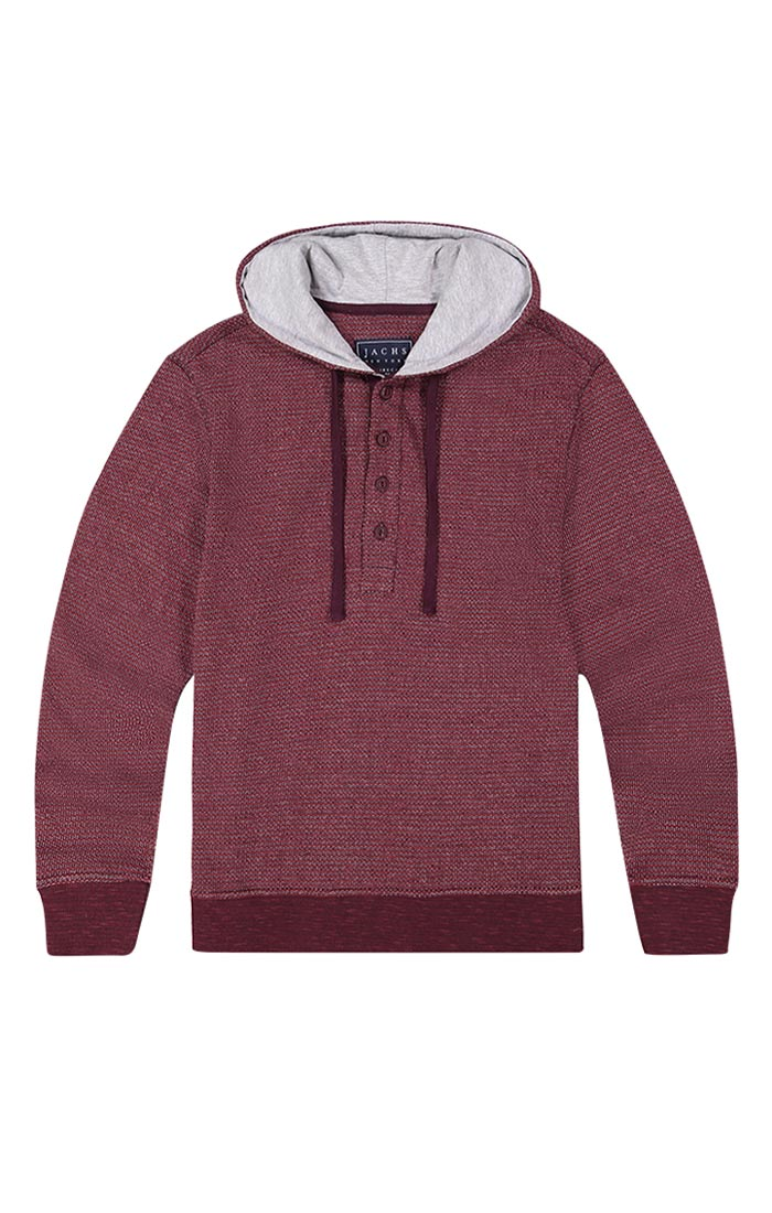 Burgundy Striped Fleece Hooded Henley - jachs