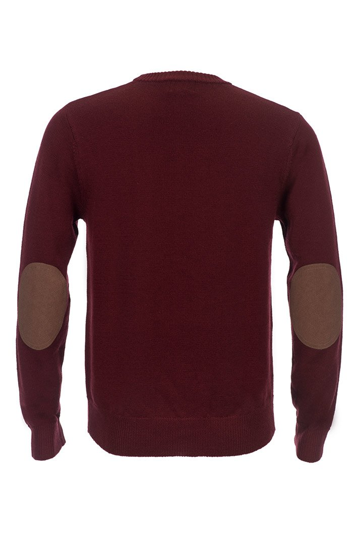 Burgundy Merino Wool Elbow Patch Crewneck - jachs