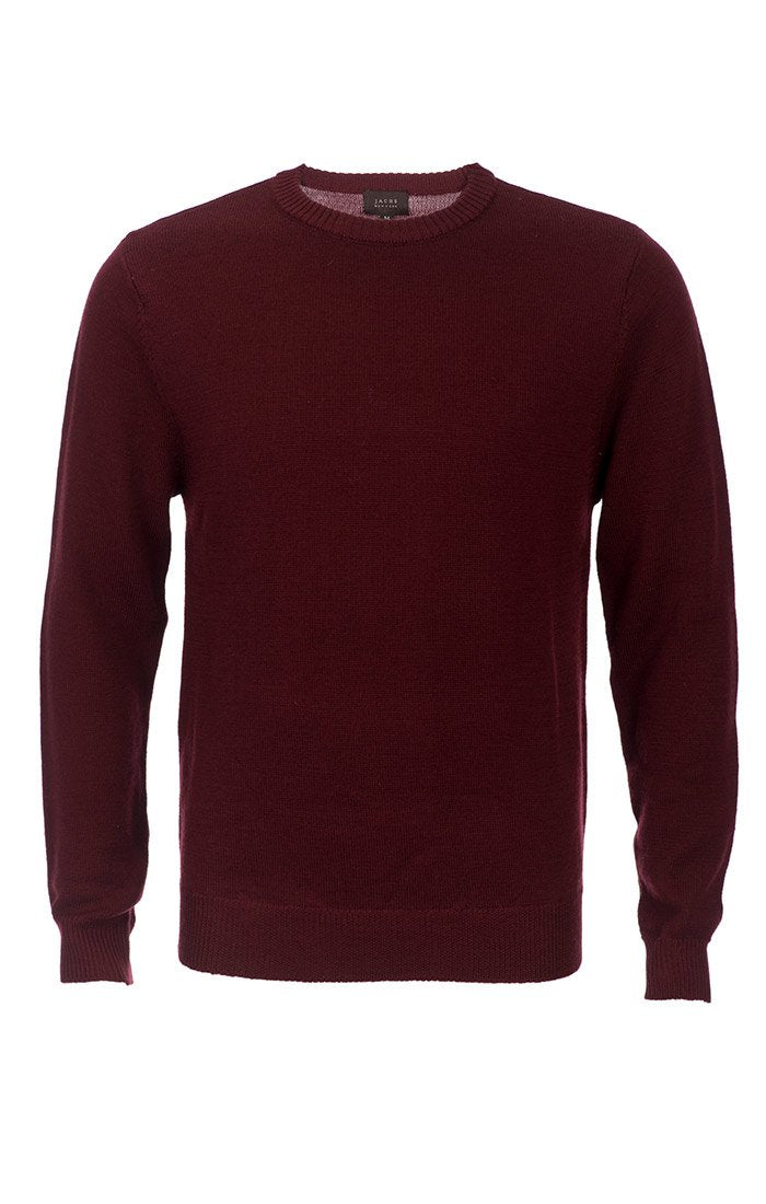 Burgundy Merino Wool Elbow Patch Crewneck