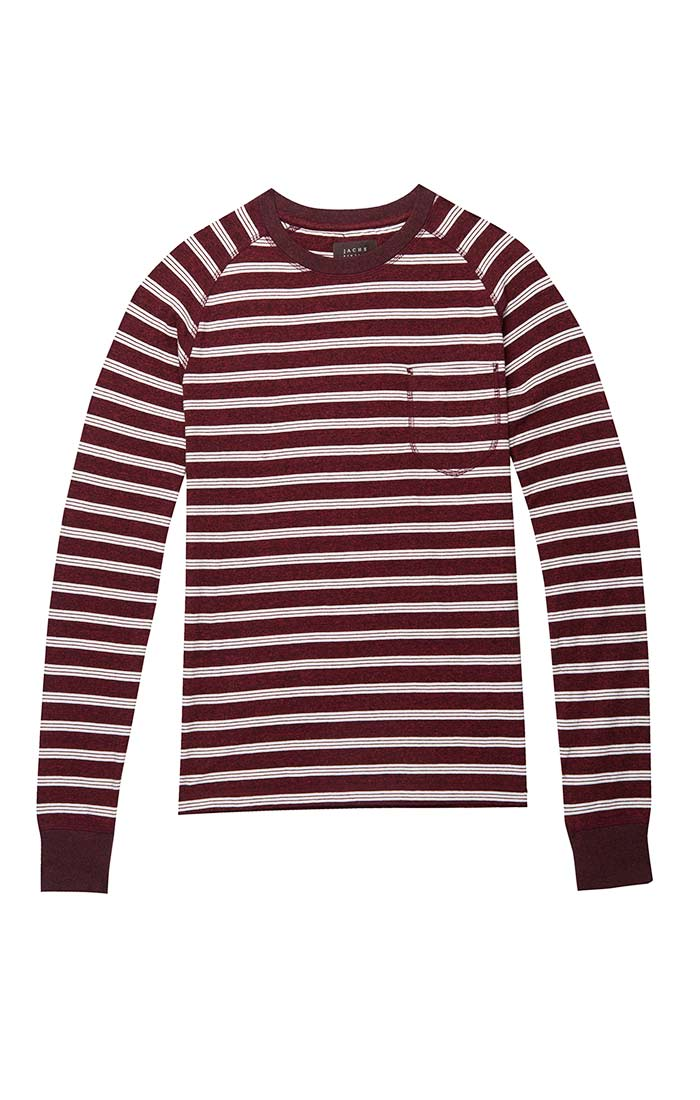 Burgundy Jaspe Striped Raglan Crewneck - jachs