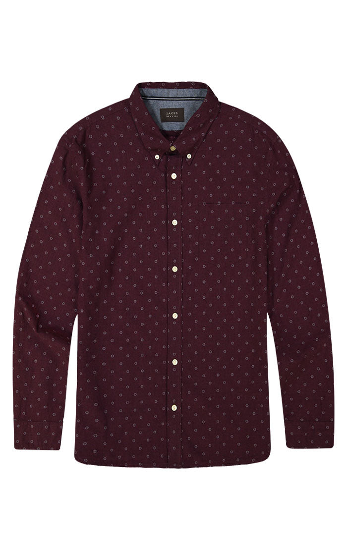 Burgundy Melange Printed Oxford Shirt