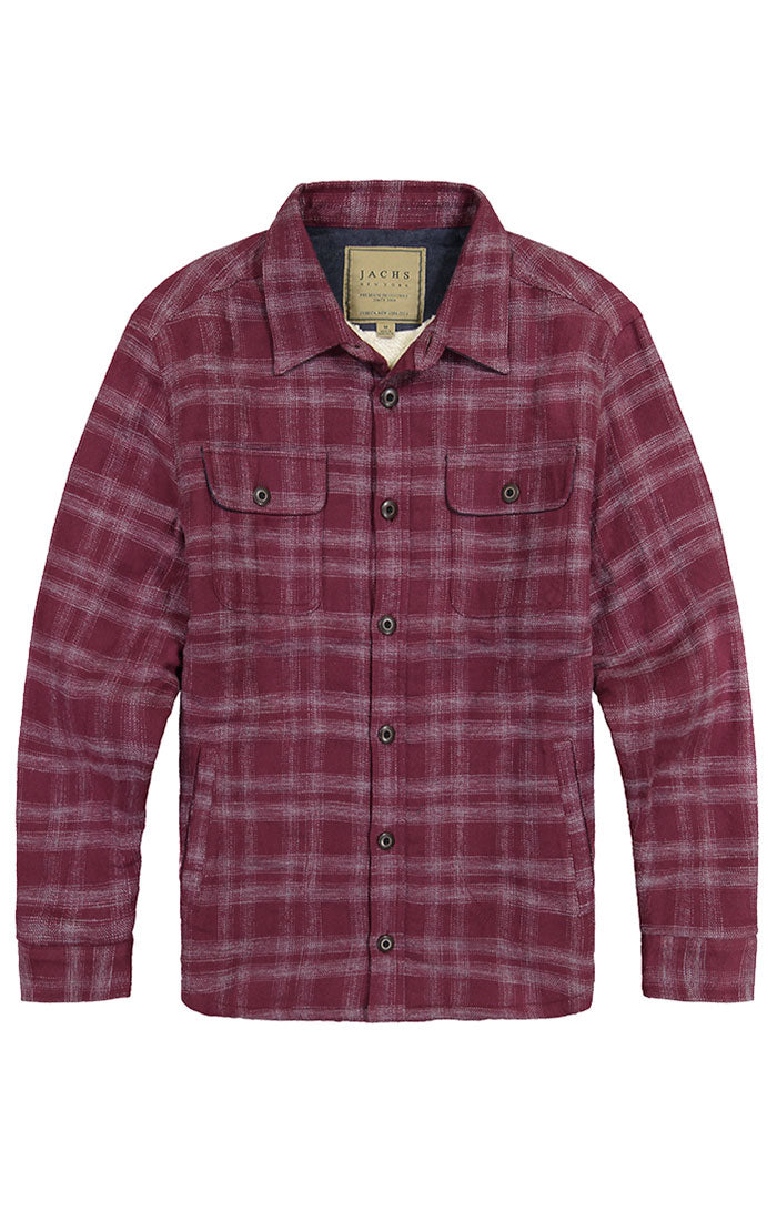 Burgundy Sherpa Lined Flannel Shirt Jacket - jachs