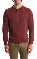 Burgundy Stretch Long Sleeve Henley - jachs
