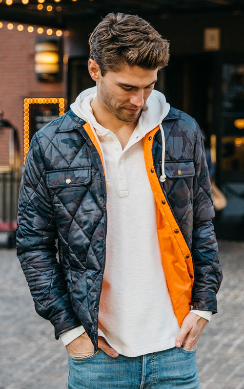 Quilted Camo Shirt Jacket