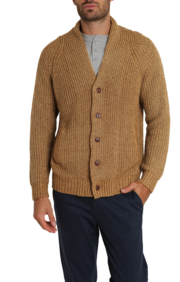 Copper Marled Ribbed Shawl Cardigan - jachs