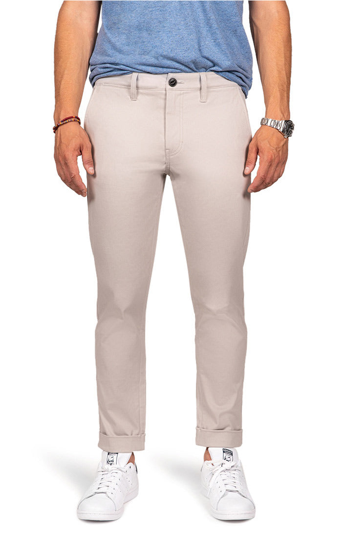 Light Stone Cropped Fit Stretch Bowie Chino - jachs