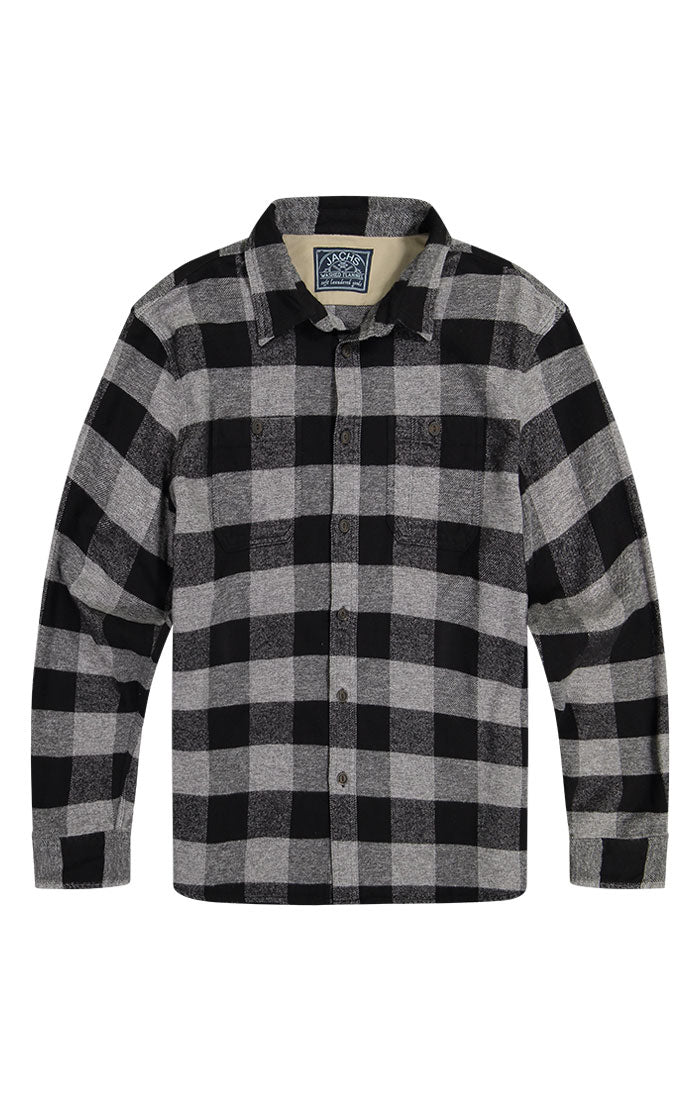 Charcoal Buffalo Plaid Brushed Flannel Workshirt