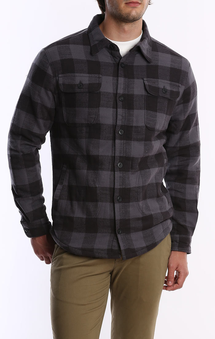Charcoal Sherpa Lined Flannel Shirt Jacket