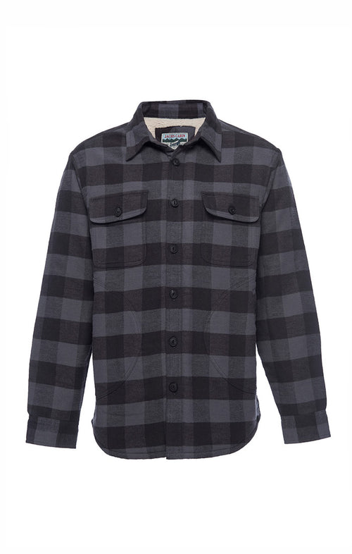 Charcoal Sherpa Lined Flannel Shirt Jacket - jachs