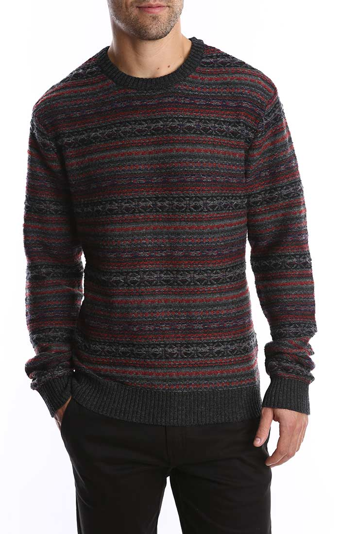 Charcoal Reverse Fairisle Merino Wool Sweater
