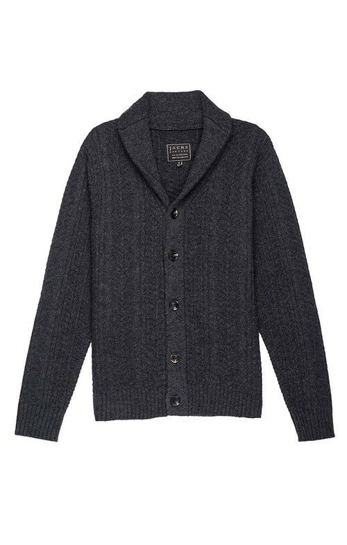 Charcoal Merino Wool Fisherman Cardigan