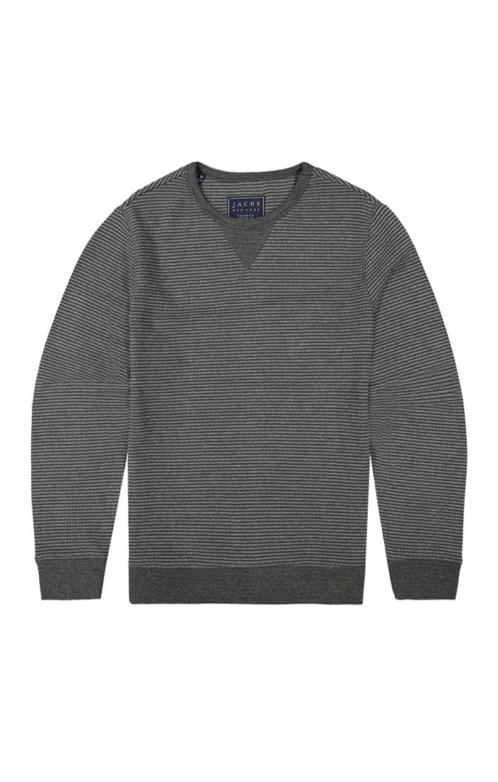 Charcoal Striped Fleece Crewneck Sweatshirt - JACHS NY
