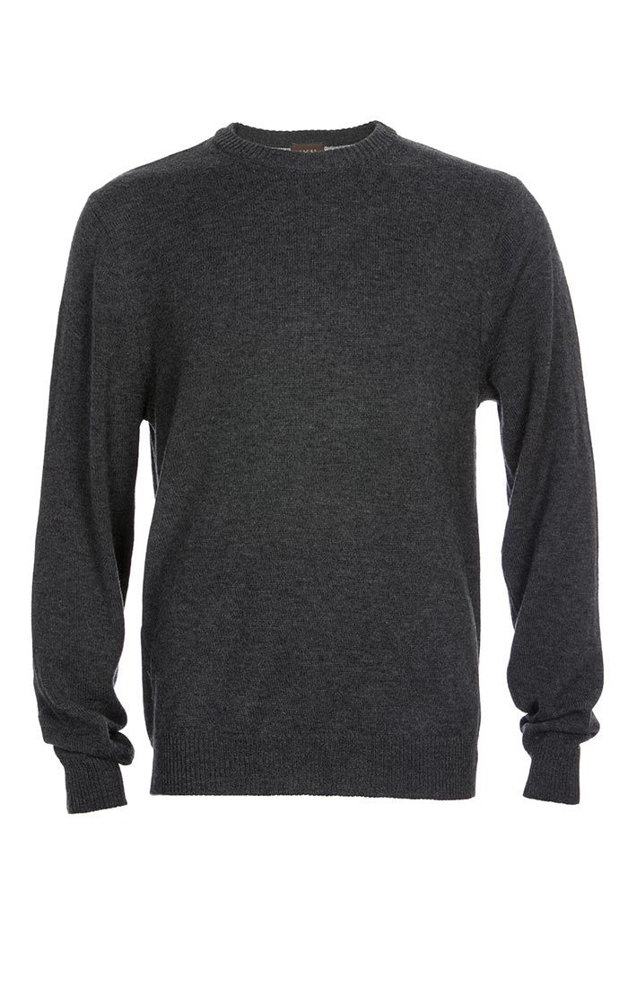 Charcoal Merino Wool Elbow Patch Crewneck - jachs