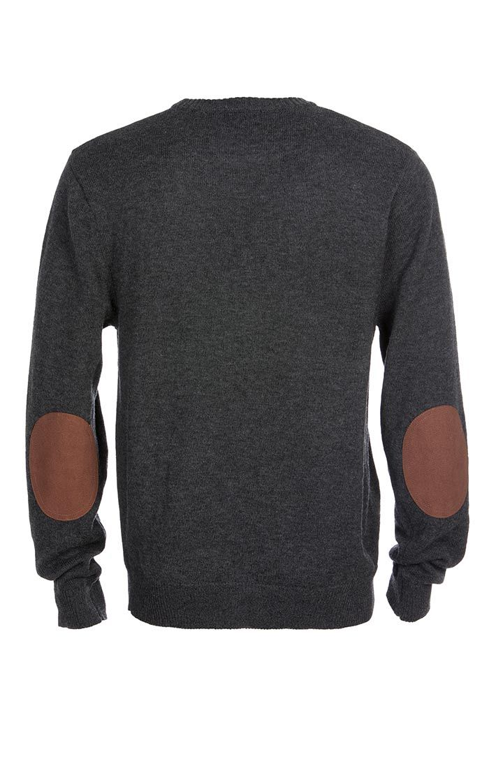 Charcoal Merino Wool Elbow Patch Crewneck