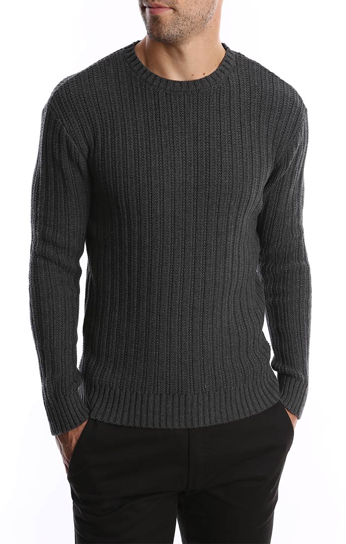 Charcoal Ribbed Crewneck Sweater