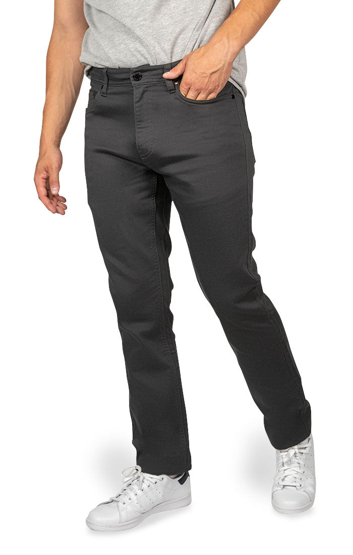 Dark Grey Straight Fit Stretch Traveler Pant - JACHS NY