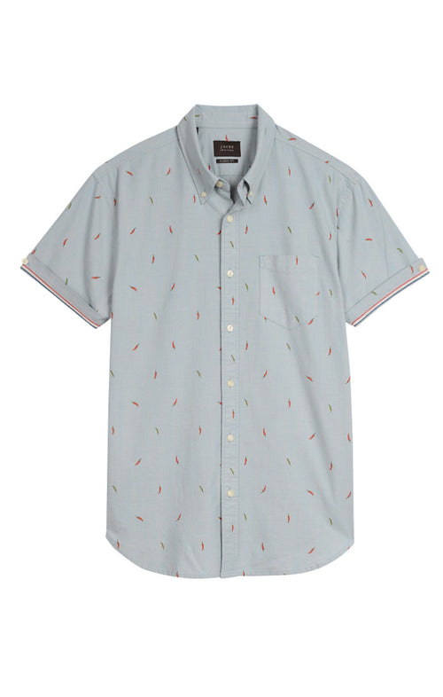 Chili Pepper Stretch Chambray Short Sleeve Shirt - jachs