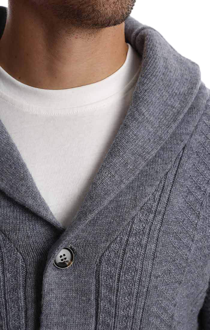 Grey Merino Wool Fisherman Cardigan - jachs