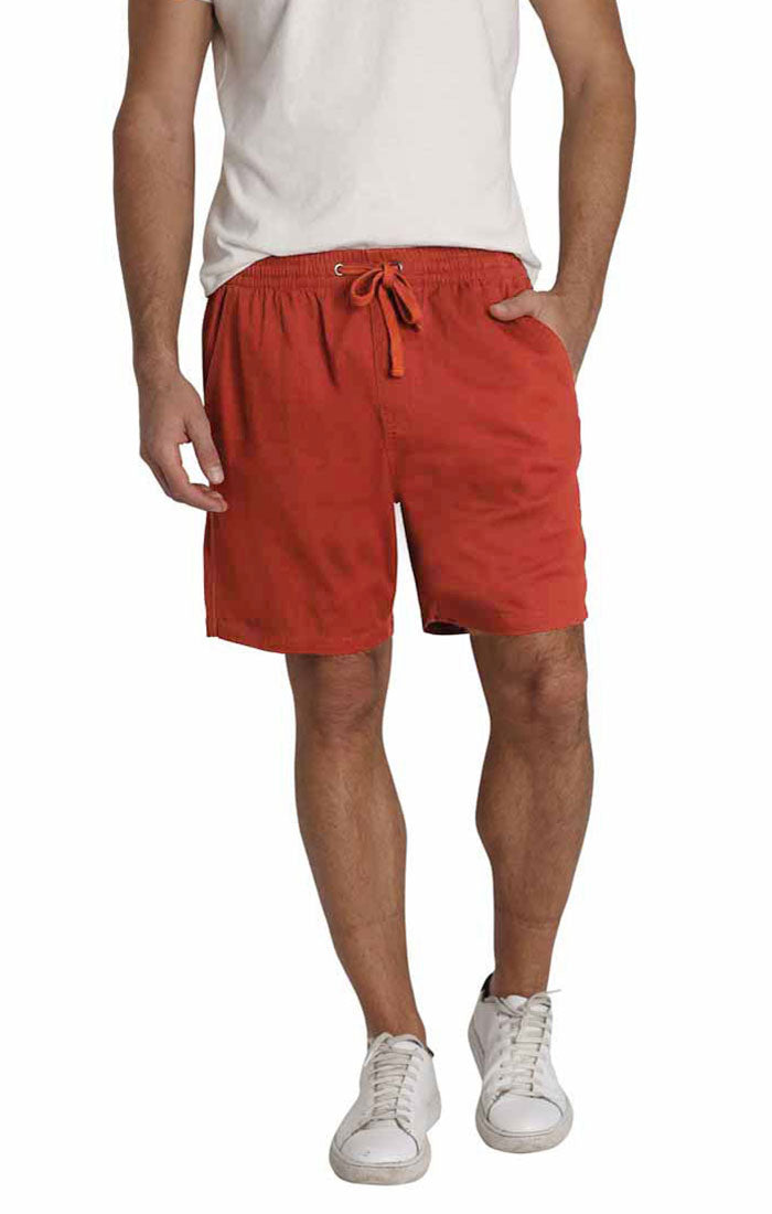 Rust Stretch Twill Pull On Dock Short - jachs