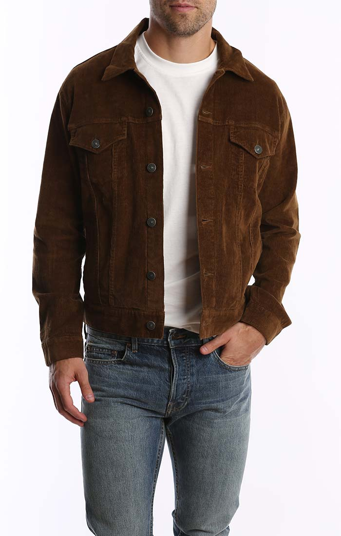 Dark Khaki Stretch Corduroy Trucker Jacket