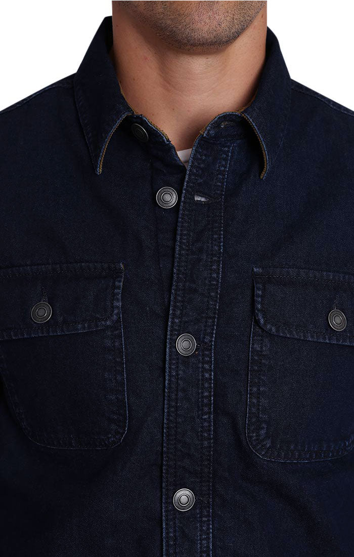 Denim Stretch Flannel Lined Shirt Jacket - JACHS NY