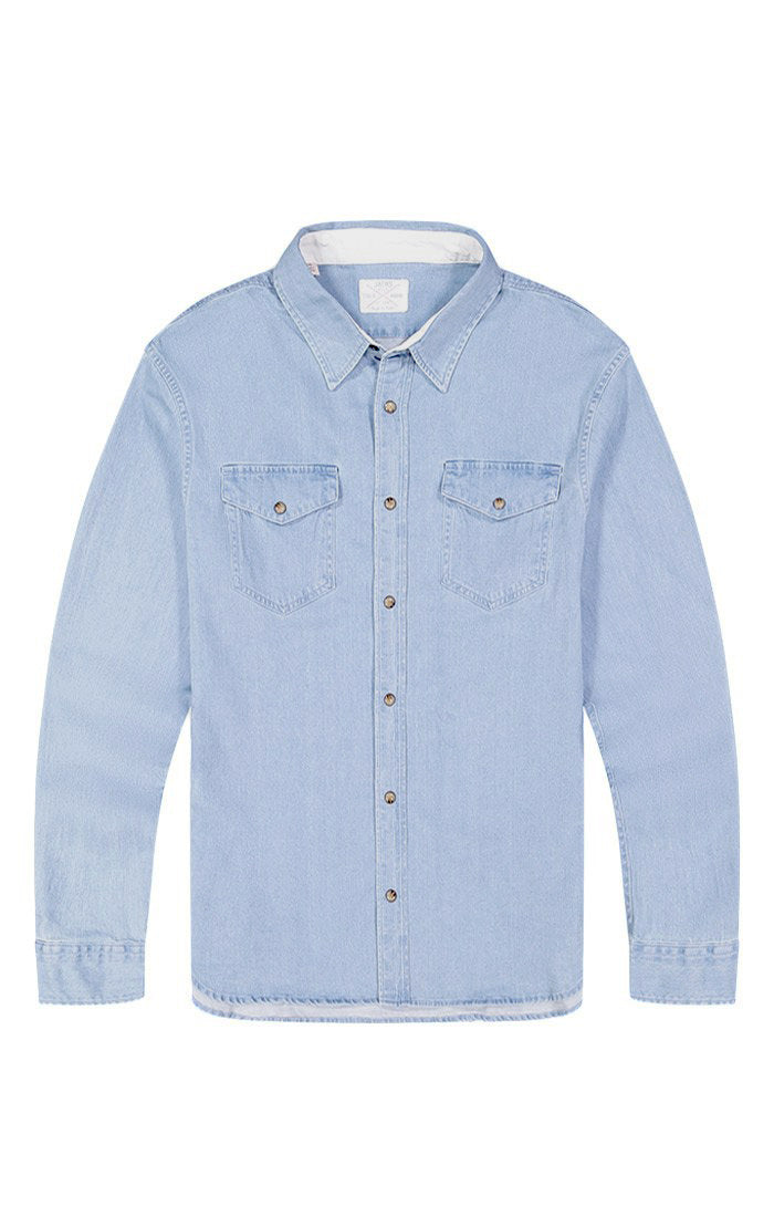 Light Wash Denim Stretch Western Shirt - jachs