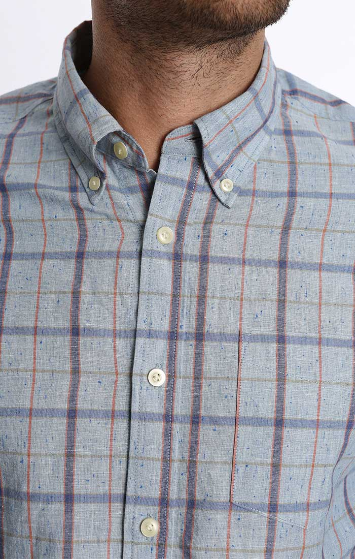 Light Blue Windowpane Linen Donegal Shirt - jachs