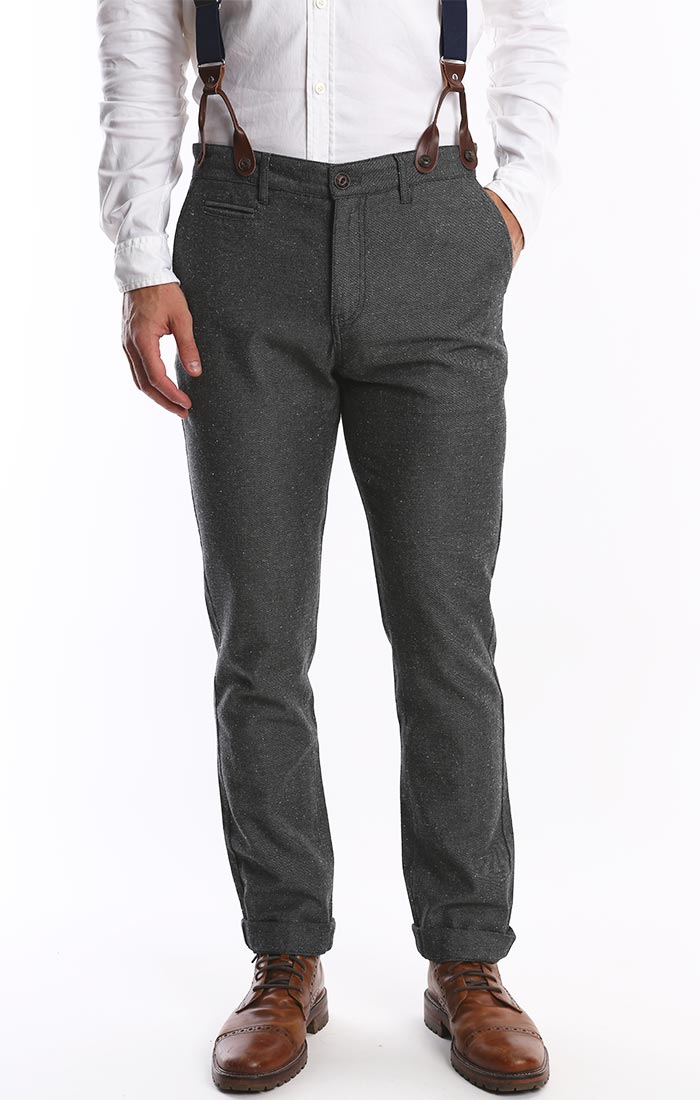Grey Donegal Twill Suspender Pant