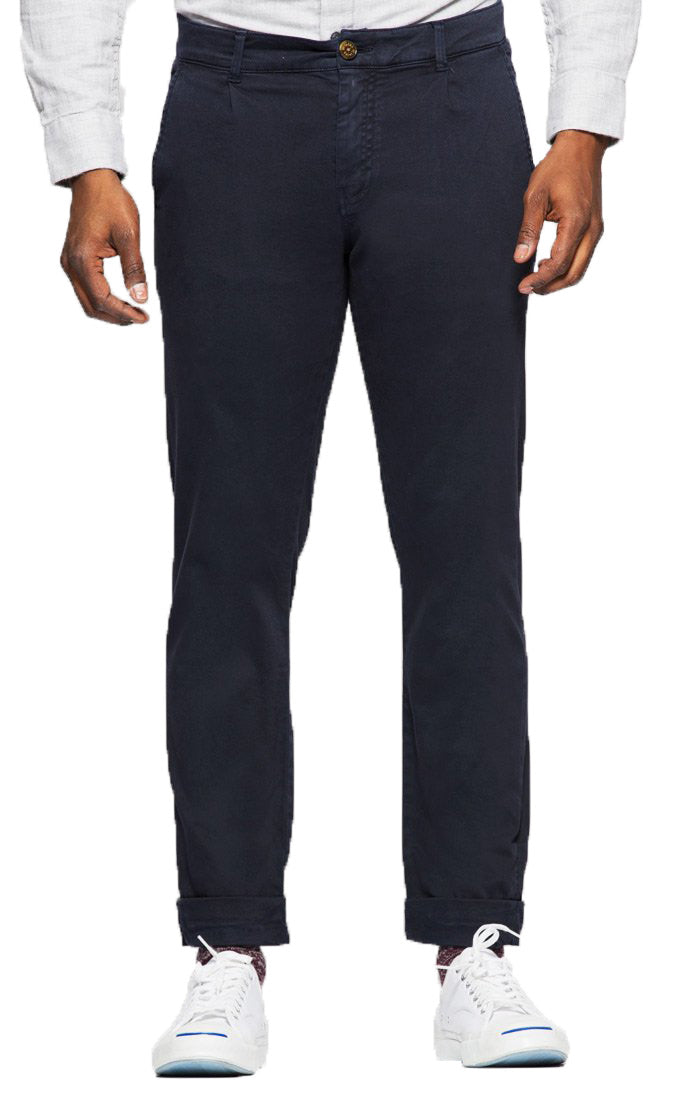 Dark Navy Straight Fit Stretch Bowie Chino - JACHS NY