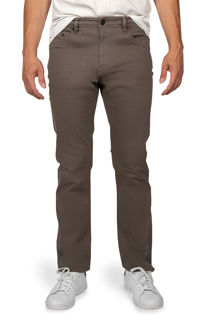 Grey Straight Fit Stretch Twill Pant - jachs