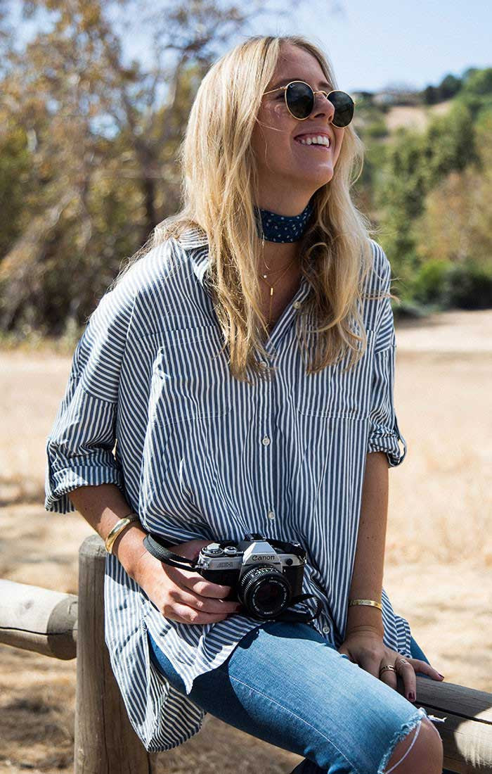 Striped Oversized Drop Sleeve Shirt - Grey - jachs
