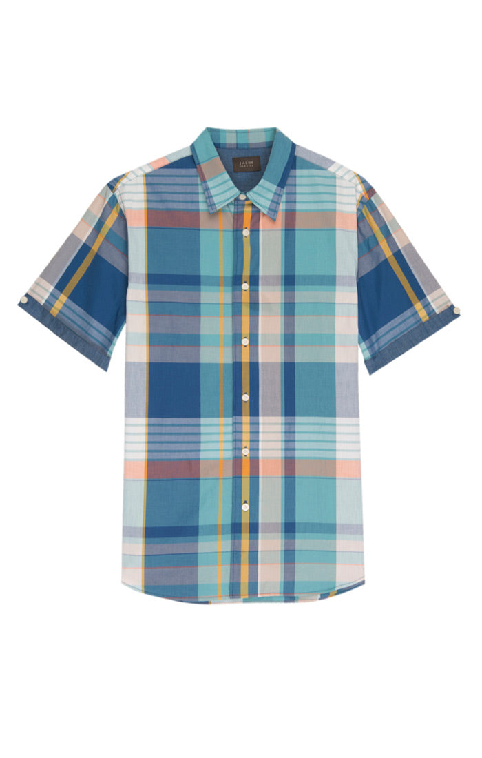 Teal Oversize- Madras Plaid Short Sleeve Shirt