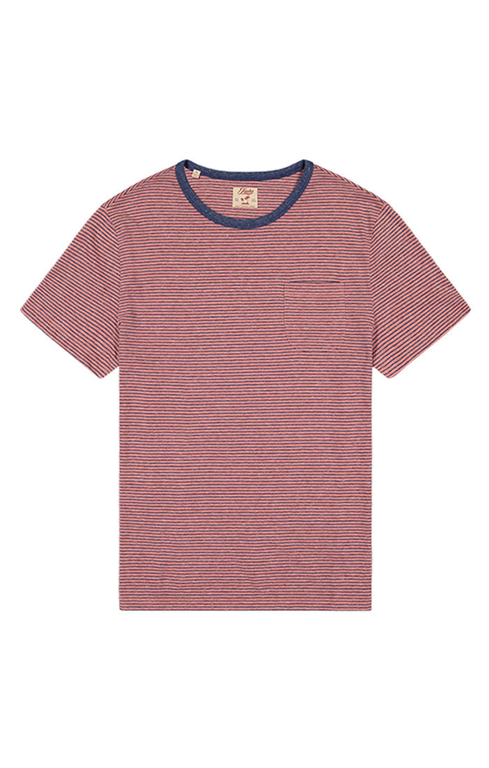 Red Striped Linen TriBlend Tee - JACHS NY