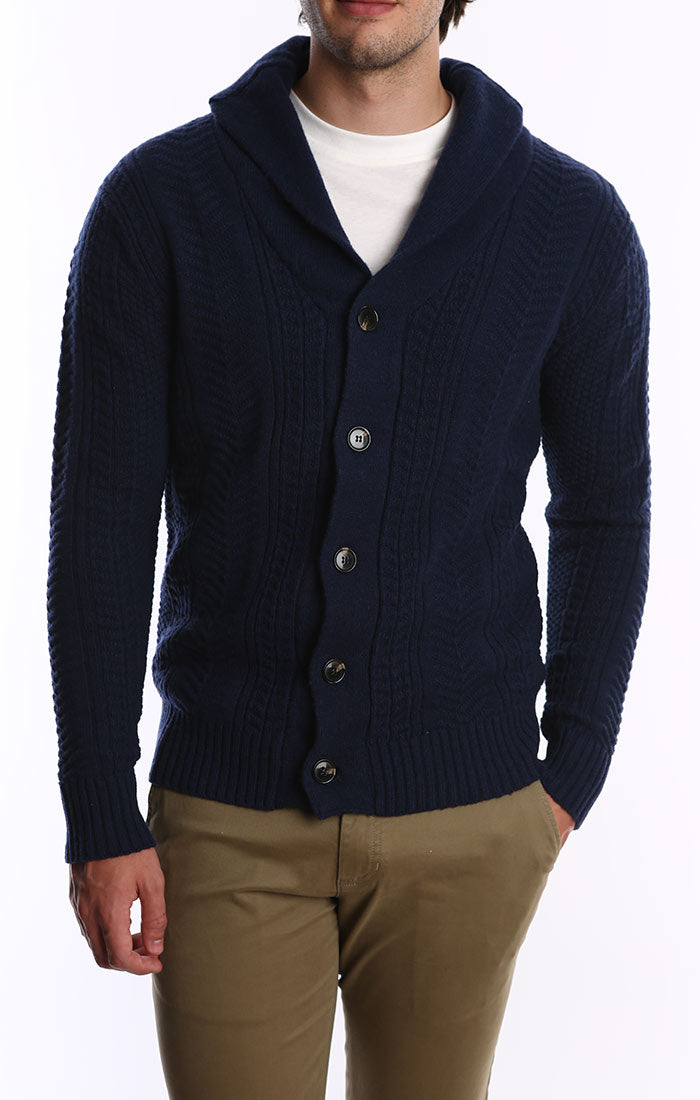 Navy Merino Wool Fisherman Cardigan