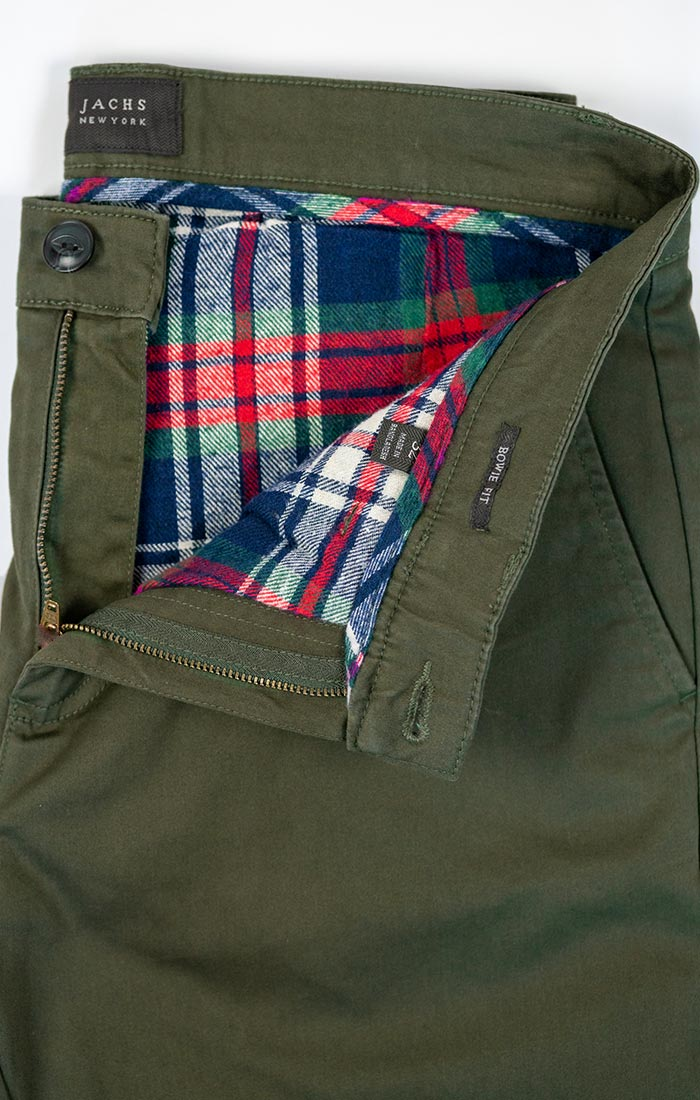 Forest Green Flannel Lined Bowie Stretch Chino Pant
