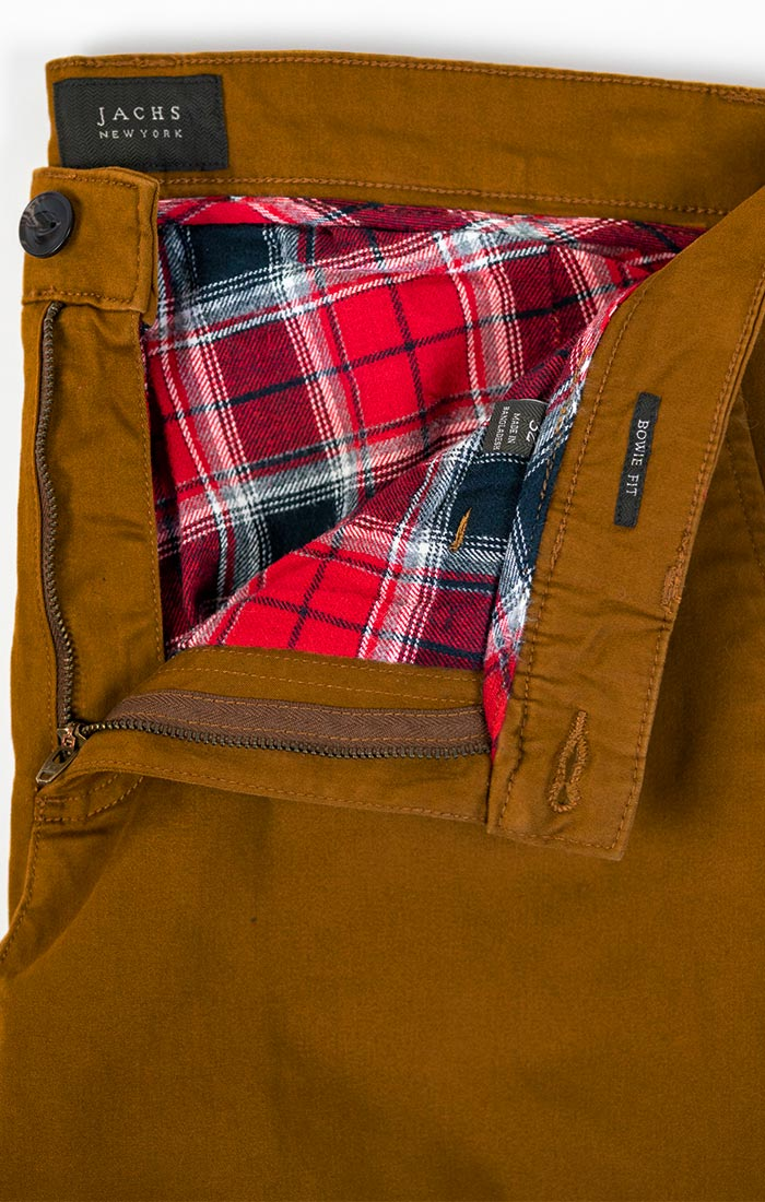 Copper Flannel Lined Straight Fit Bowie Stretch Chino - jachs