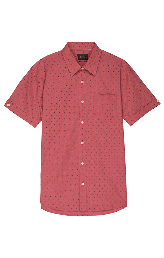 Pink Floral Linen Stretch Short Sleeve Shirt