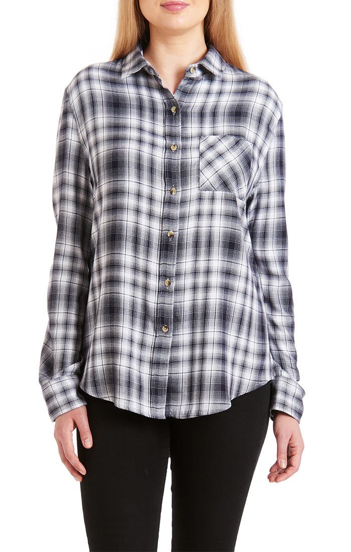 JACHS GF Grey Rayon Blend Flannel Shirt