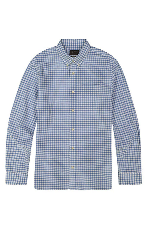 Blue Gingham Stretch Seersucker Shirt - jachs