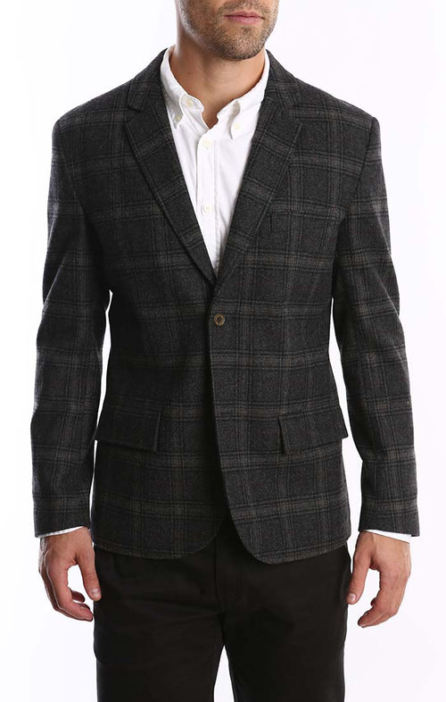 Grey Glen Plaid Wool Blend Blazer