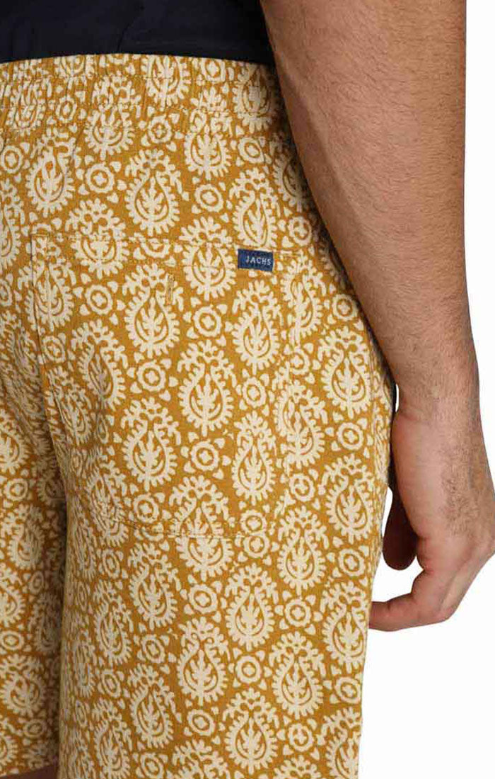 Gold Printed Stretch Twill Pull On Dock Short - jachs