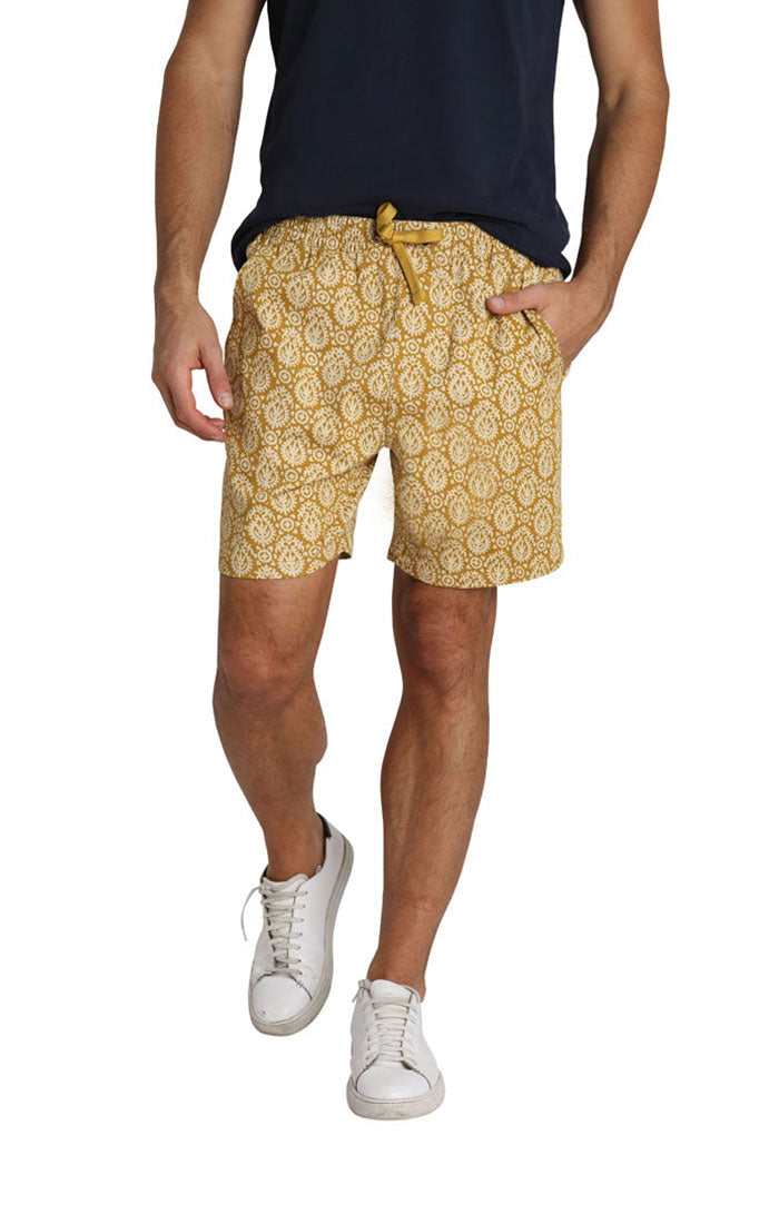 Gold Printed Stretch Twill Pull On Dock Short - JACHS NY