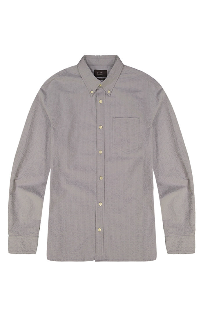 Grey Stretch Seersucker Shirt - jachs
