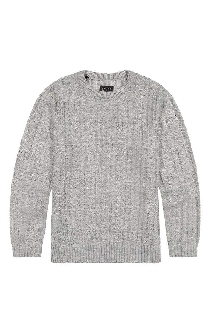 Light Grey Cable Knit Crewneck Sweater - jachs