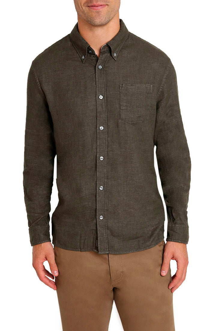 Olive Stretch Double Face Shirt