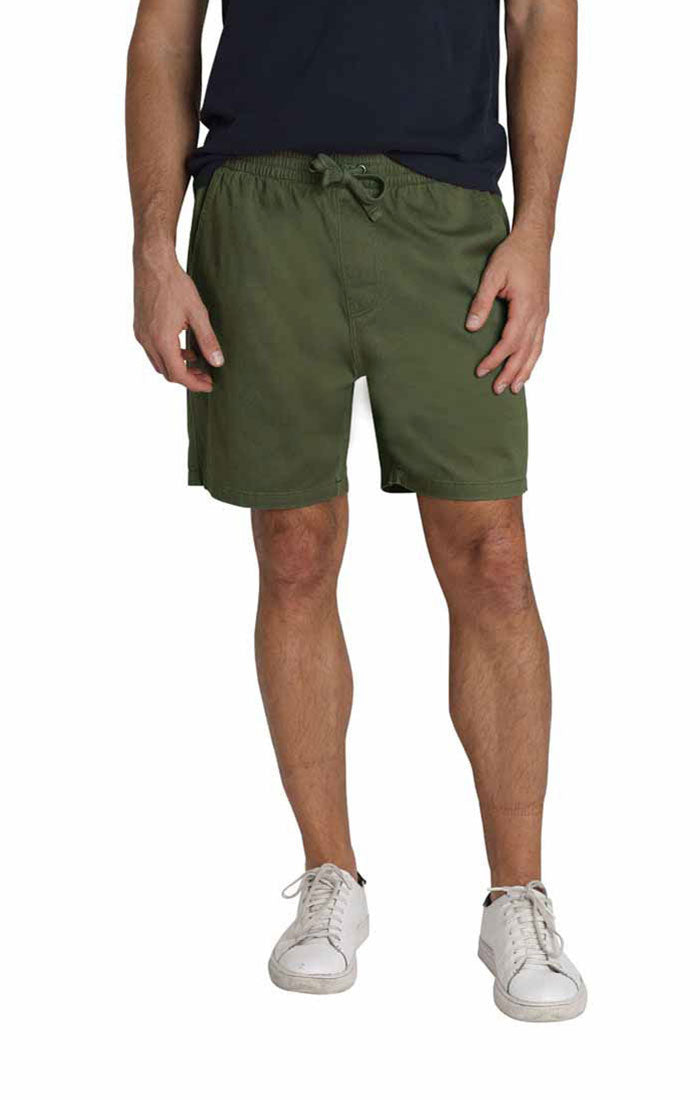 Green Stretch Twill Pull On Dock Short - jachs