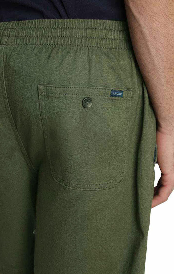 Green Stretch Twill Pull On Dock Short - JACHS NY